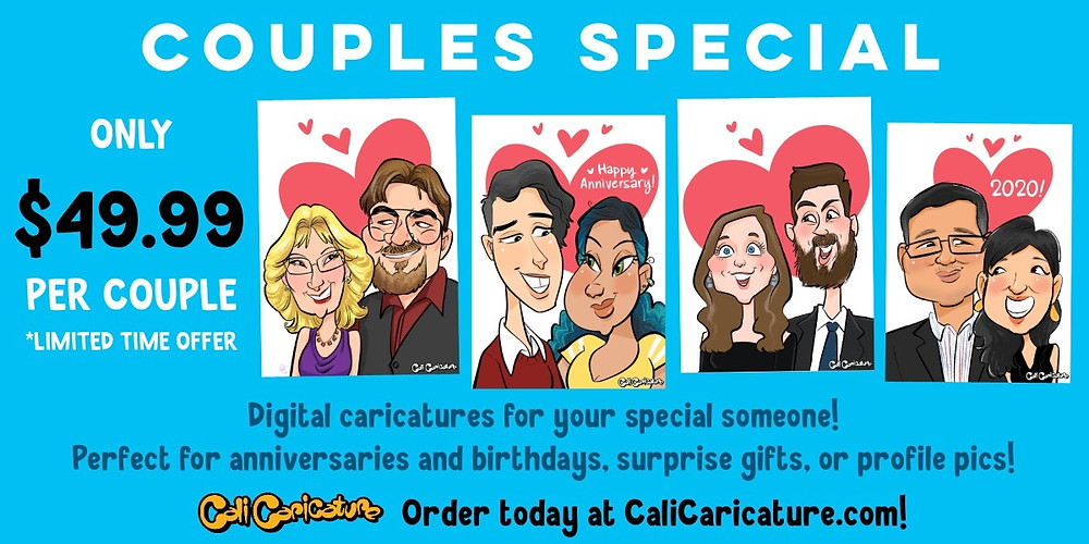 cali caricature caricatures drawing faces portrait cute couples couple gifts ideas romantic anniversary birthday engagement wedding announcement love romance hearts digital art fun sale cheap