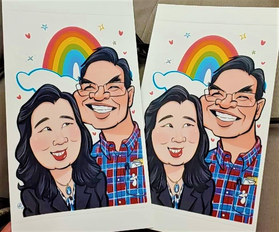 caricature rainbow couple cute card photo print caricatures drawing cartoon portrait faces example