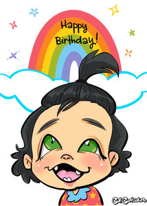 fun colorful rainbow Caricature Theme cartoon portrait caricatures faces cute digital birthday gift gifts drawing baby