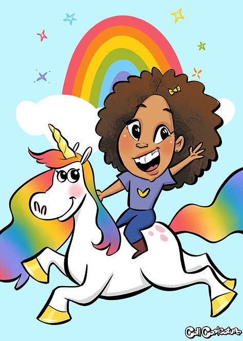 unicorn rainbow flying caricatures caricature cartoon portrait faces fun cute couples drawing art magic magical