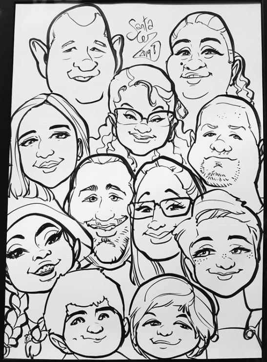 family group caricature caricatures cartoon portrait families fun faces drawing art cute funny kids adults elderly black and white couples