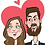 caricature portrait cartoon face cute couple drawings romantic hearts background
