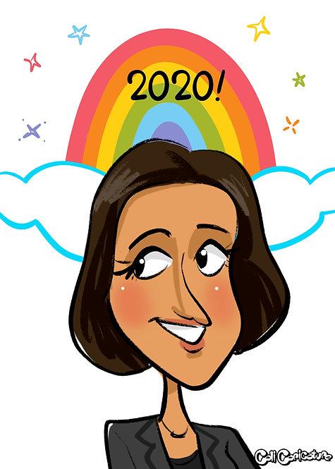 caricature cartoon portrait cute rainbow background lgbtq pride
