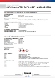 Anchor Resin - MSDS - As per internet -