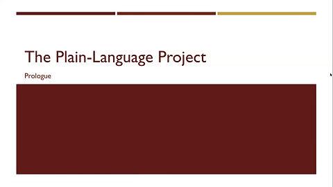 Plain Language Project Prologue