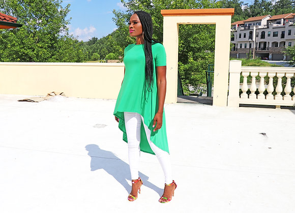 Casual Solid Short Sleeve High-Lo Maxi Tunic Tops