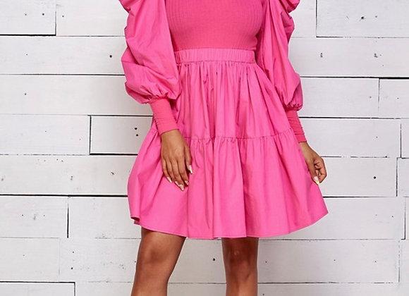 Puff Long Sleeve Mini Dress