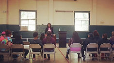 Speaking to troubled youth at youth program
