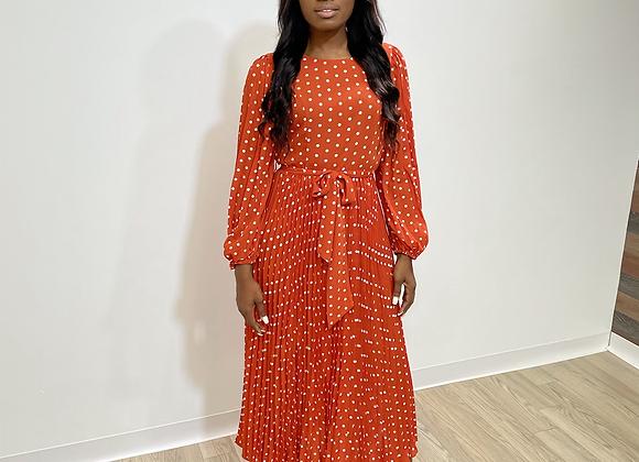 Orange polkadot dress