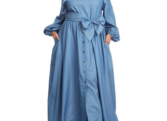 *Plus* Denim Off Shoulder Maxi Dress