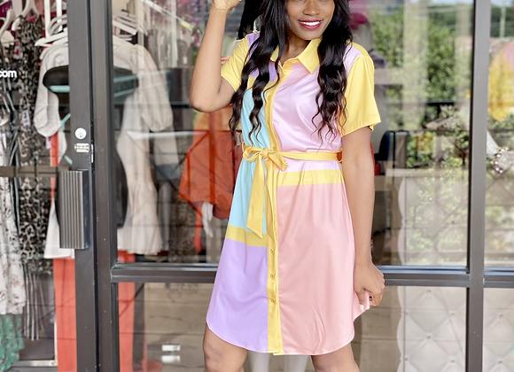 Color Block Short Sleeve Shirt Dress