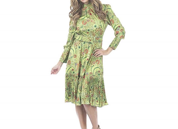 Pleating Ruffle Belted Print Dress