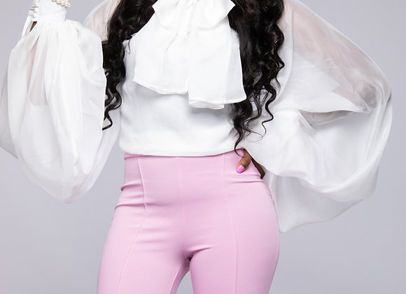 RUFFLE AND TIE BLOUSE