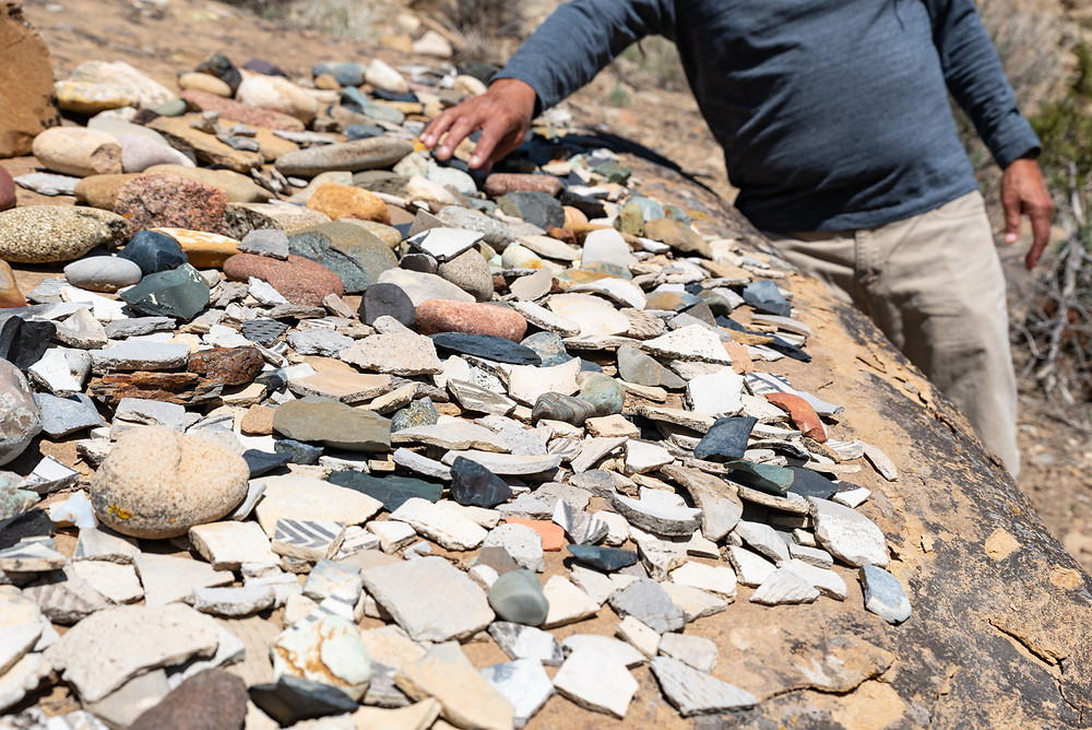 A pile of ancient pottery shards