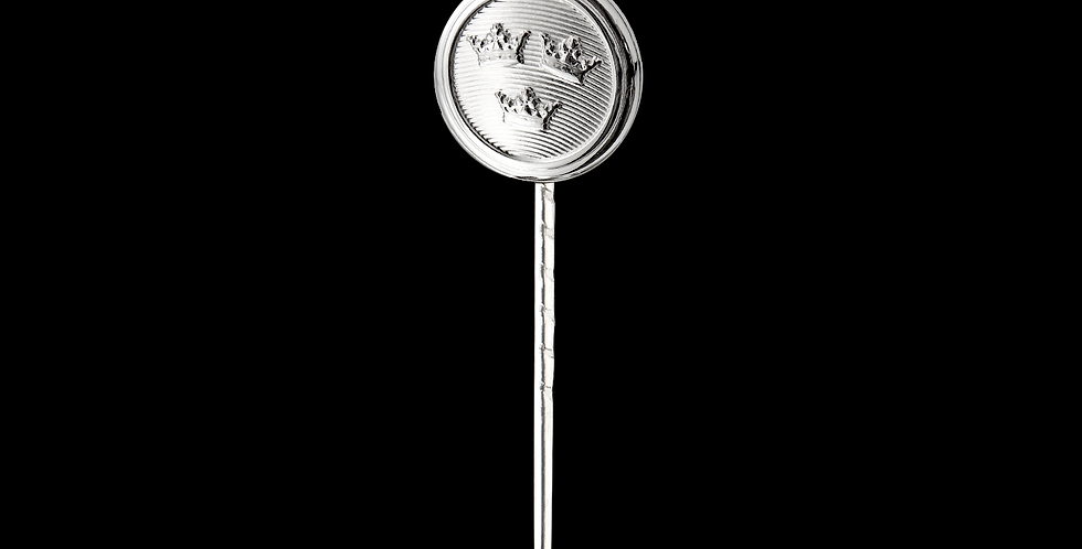 Kavajnål Tre Kronor på rund form i blankt silver