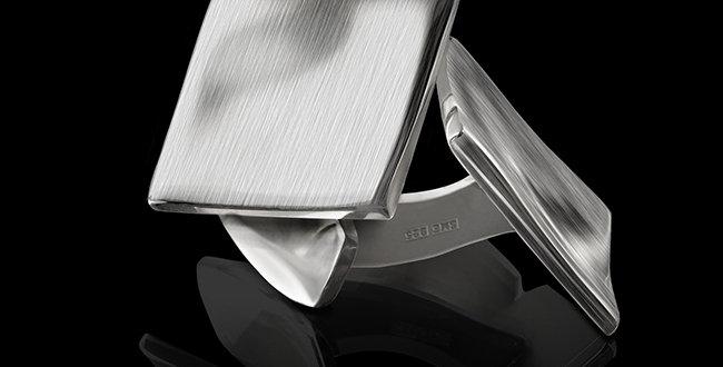 Manschettknappar Strömmen, kvadratisk form, i borstat silver
