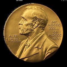 Nobelmedaljens åtsida med Alfred Nobel