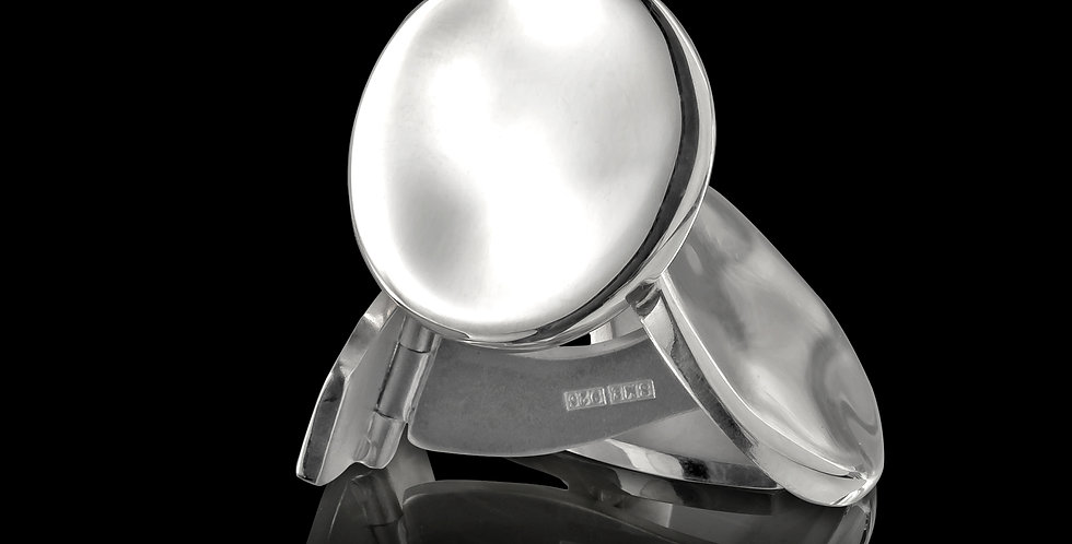 Manschettknappar Strömmen, rund form, i blankt silver