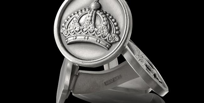 Manschettknappar Drottningholm, i oxiderat silver