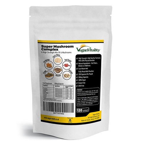 Vegan Vitality Super Mushroom Complex: A Formula Of 6 Powerful Mushrooms