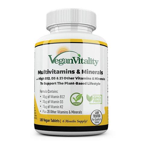 Vegan Vitality Multivitamins & Minerals with High B12, D3 & K2