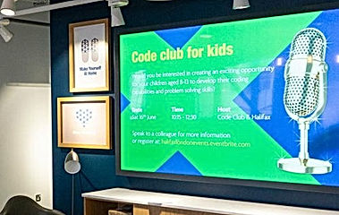 Digital media display showing code club content for Halifax Flagship London utilising in-store audio installation