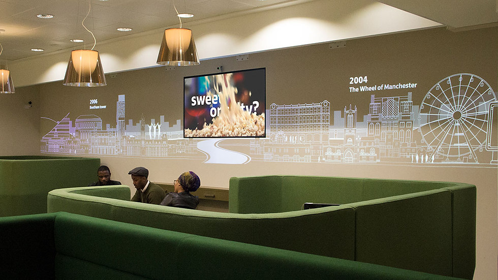 Projection wall within Lloyds Bank