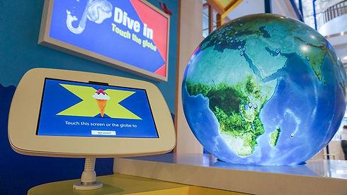 Halifax Bank Flagship digital media display, interactive globe and tablet
