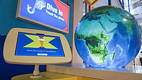 Halifax Bank Flagship digital media display, interactive globe and tablet
