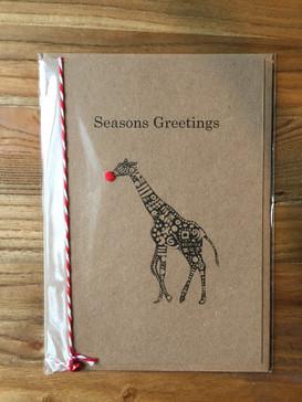 Giraffe Christmas Card