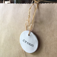Set of four clay tags with Jute or grey/white string.  4.5cm -dream -peace -for you - love heart £10 +postage