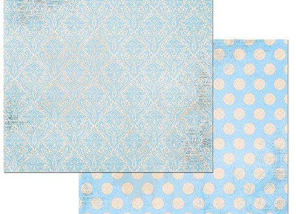 Powder Blue Double Dots 12X12 2-Sided Cardstock Paper BoBunny BoBunny