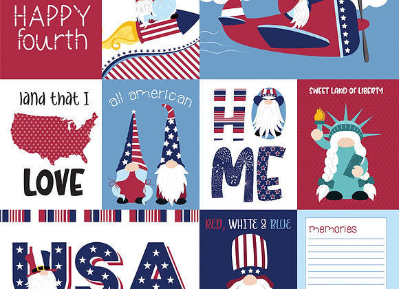 All American 12x12 2-Sided Patterned Paper, Gnome for July 4th