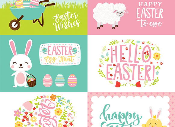 4X6 Journaling Cards 12x12 Scrapbook Paper, Easter Wishes, Echo Park
