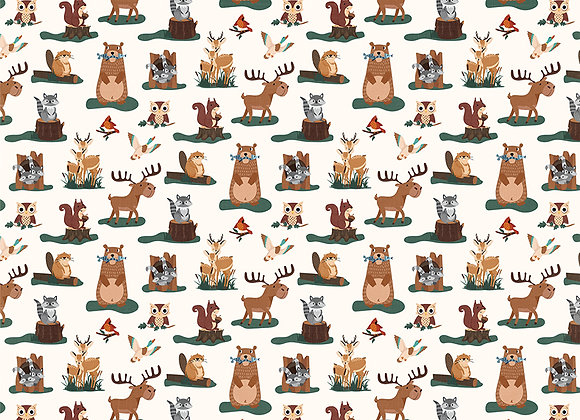 Camp Happy Bear - Forest Friends 12x12 Patterned Paper