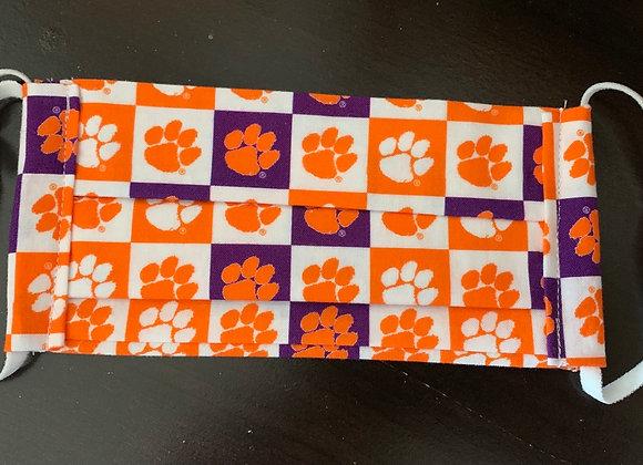 Clemson University Collegiate Checks Cotton Fabric Mask