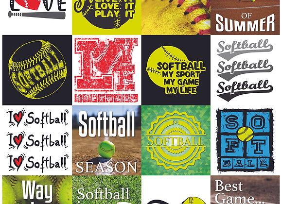 Softball 12x12 Sticker Game Day