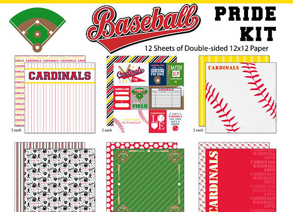 CARDINAL Baseball Page Kit 12X12