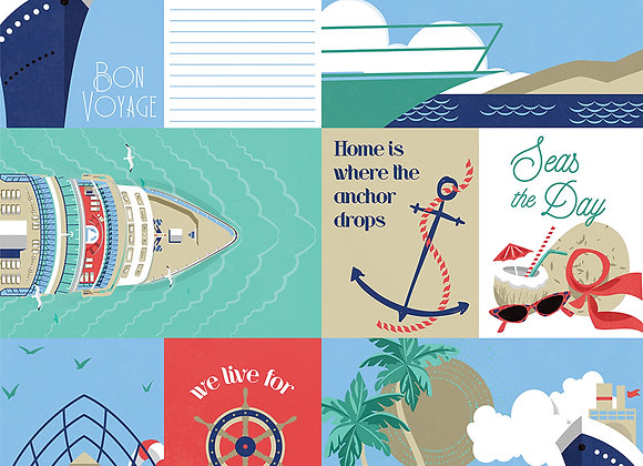 Bon Voyage 12x12 - 2 Sided Scrapbook Paper,  Set Sail Collection