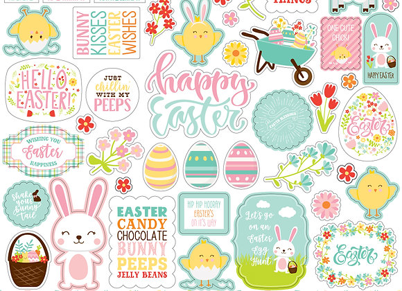 Easter Wishes Element 12x12 Sticker Sheet, Easter Wishes, Echo Park