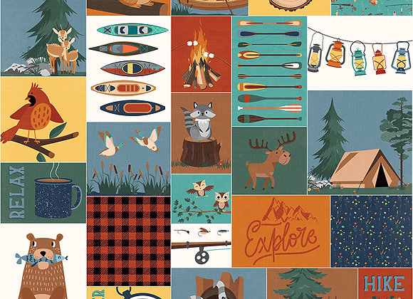 Camp Happy Bear - Gone Fishing 12x12 Patterned Paper