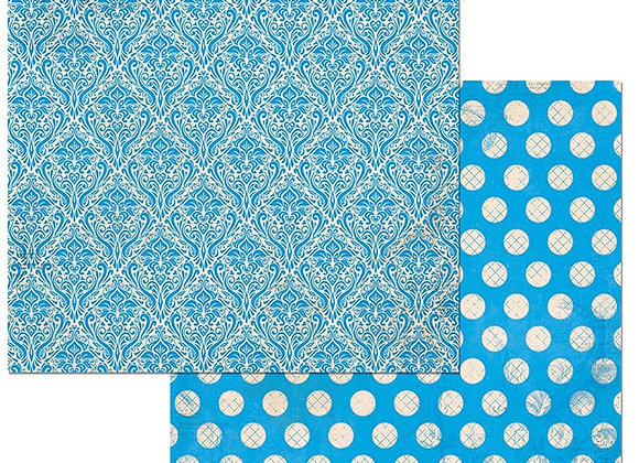 Brilliant Blue Double Dots 12X12 2-Sided Cardstock Paper BoBunny BoBunny
