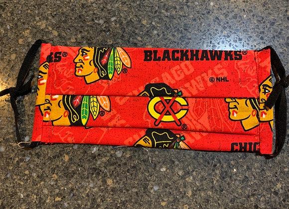 Chicago Blackhawks Red Logo Tone on Tone Cotton Mask