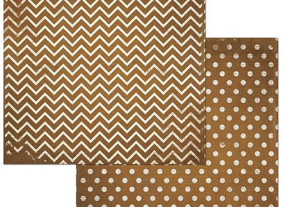 Decaf Double Dots 12X12 2-Sided Chevron Cardstock Paper BoBunny