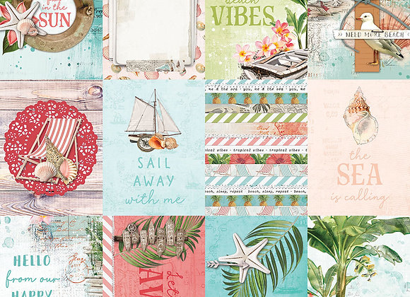 3x4 Elements 12x12 Designer Cardstock Paper,  SV Coastal, NEW Simple Stories