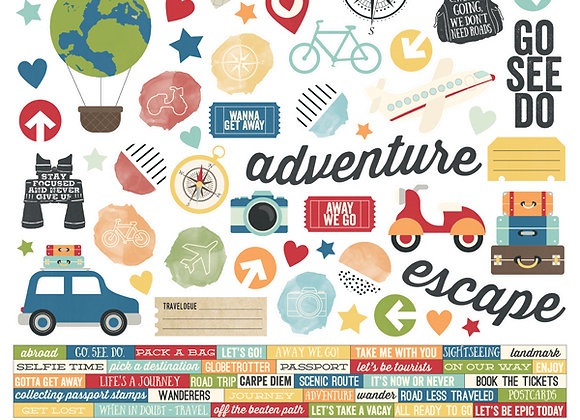 Travel Note 12X12 Combo Sticker Sheet, Simple Stories