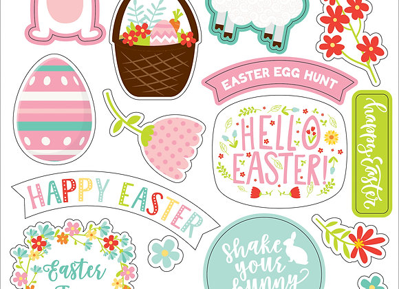 Easter Wishes 6X13 Chipboard Accent Stickers, Easter Wishes, Echo Park