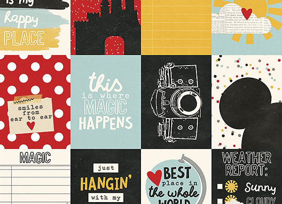 3X4 Journaling Card, 12X12 Scrapbook Paper, Say Cheese 3, Simple Stories