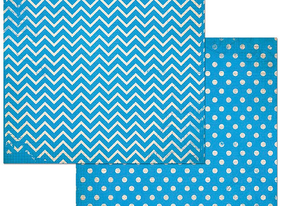 Brilliant Blue Double Dots 12X12 2-Sided Chevron Cardstock Paper BoBunny