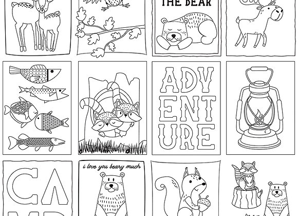 Camp Happy Bear Color Me Sheet